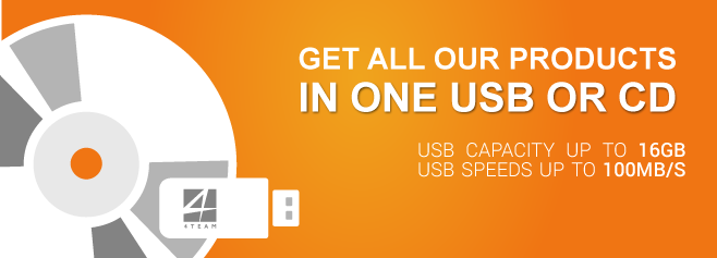 Get all our products in one USB or CD.