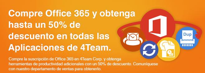 Compre la suscripción de Office 365 en 4Team Corp. y obtenga herramientas de productividad adicionales con un 50% de descuento.