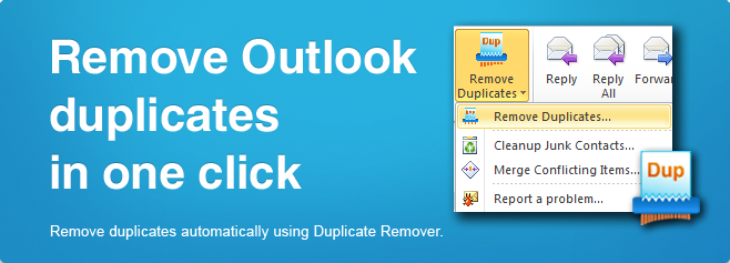 Duplicate Remover - Remove Outlook duplicates in one click.